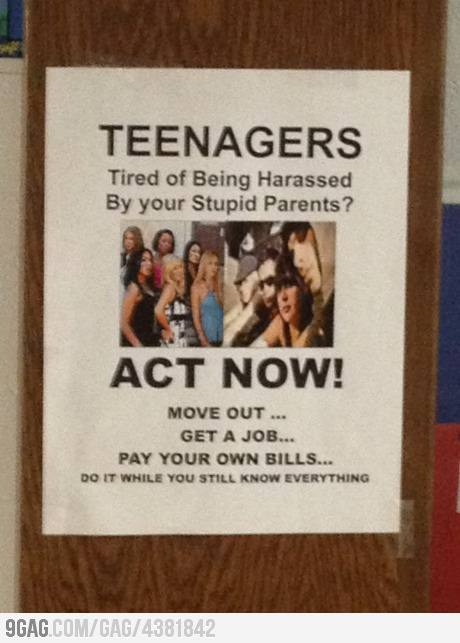 9gag:  Teenagers, act now!