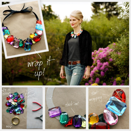 truebluemeandyou:  DIY Wrapped Large Jewel Necklace Tutorial. This is a really clever and cheap tutorial to by Trinkets in Bloom because of what she uses as her base for the necklace. *One image download.