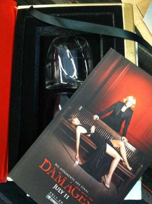 "psychrophile:  hitolonen:  huffposttv:  ""Damages"" Season 5 screener arrived in a fake law book and came accompanied with two glasses. I am SO excited.  Thank you for sharing! Also, not lesbian at all.  Excuse my French but- ARE YOU SERIOUS ARE YOU FUCKING SERIOUS WHAT THE- I CAN'T I see every promo poster and every photo shoot ever flashing before my eyes, and it all sums up to-"