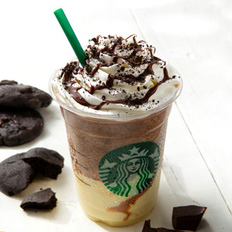 Chocolate Cookie Crumble Frapuccino with White Chocolate Pudding Think ordering it is a mouthful? This entire existence is a mouthful! I ordered it, and I felt it was a meal by itself. Grande has 694 calories. Go figure! Available at Starbucks Japan.