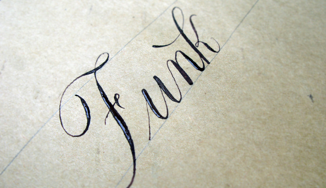 Calligraphi.ca - Funk - copperplate nib and brown tempera - Giuseppe Salerno