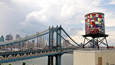 david-noel:  deleteyourself:  This stained glass water tower in DUMBO is niiiiice. (via)  Reblogging for Kirk.  This will be on the roof of my office building. Love it!