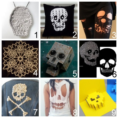 truebluemeandyou:  Nine Skull Crafts' Roundup of Skulls I've Posted in the Past from jewelry to pillows to cards (also skulls by people on Tumblr here): DIY Crochet Skull Necklace and Bunting posted in Oct. 2011 (Shara Lambeth Design) here. DIY Day of the Dead Doily Skull Pillow with Sparkly Buttons Eyes (Born Again Creations) here. DIY Ripped and Torn Skull Tights (Nikdreamer) here. DIY Paper Skullflake (Crafty Lady Abby) here. Free PDF Downloads. DIY Papercraft Skull with Articulated Jaw Papercraft Robot Skull (Skull a Day) here. DIY Googly Eye Skull (Skull A Day), Alexander McQueen skull Template (Outsapop) here.  DIY Button Homage to Patrick Kelly (Mr. Peacock)here. DIY Skull Tee Shirt (Hurley) here. via solanum-injection  DIY 8 Bit Pop Up Skull Card (minieco) here.