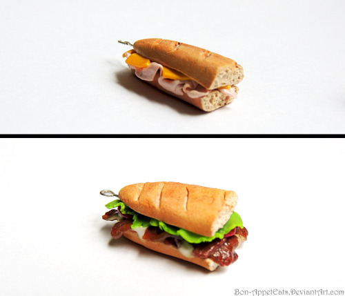 bon-appeteats:  Sandwich charms. The top one is ham and cheese. The bottom is a BLT with extra bacon. :D