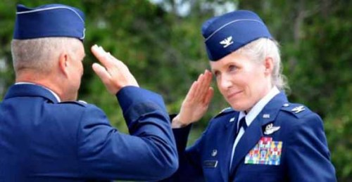 "greaterthanlapsed:  Col. Jeannie Leavitt will go down in history as the U.S. Air Force's first female fighter pilot. She made that achievement back in 1993 but can mark another big one down as of last week. She's officially the first woman to take command of an Air Force combat fighter wing.  According to CBS, ""The 45-year-old from St. Louis, Mo., takes over the 4th Fighter Wing at Seymour Johnson Air Force Base, one of only three units of F-15Es, the service's premier fighter jets. Leavitt will be in charge of the wing's 5,000 active duty men and women, with 12,000 civilians in the base population."" Leavitt joined the Air Force after attending the University of Texas and gaining a degree in aerospace engineering. Since then she's acquired four master's degrees. ""When Defense Secretary Les Aspin ordered the services to drop restrictions on women flying combat missions in 1993, she became the Air Force's first female fighter pilot. She went on to be the first female to graduate from its elite Air Force Weapons School, where she also became an instructor.""Air Force Salutes Their First Female Wing Commander 