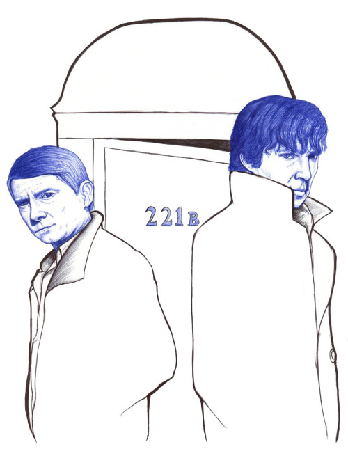 "‎""… The name's Sherlock Holmes and the address is 221b Baker Street. Afternoon."" Sherlock - A study in pink [Boli BIC en papel tamaño A4] [Ballpoint-pen on A4 paper]"