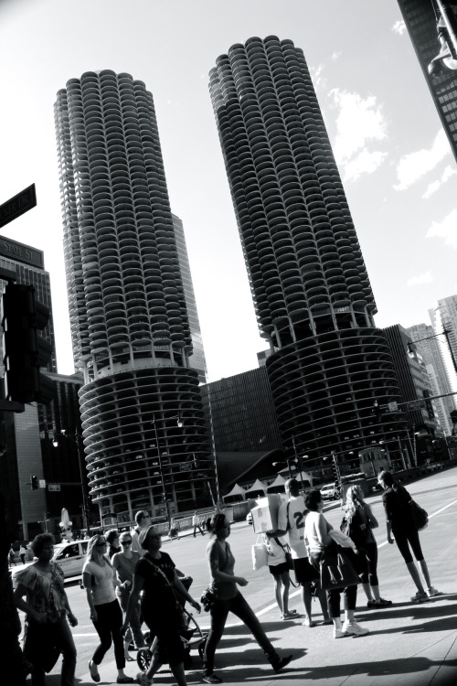 "(original photograph by me) ""People Blindly Crossing Two Towers in Chicago"". 2012"