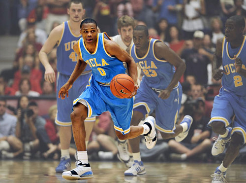 siphotos:  Russell Westbrook stood out during his two years at UCLA, leading the Bruins to two Final Four appearances, and he's standing out in the 2012 playoffs. The former Bruin poured in 23 points and added 12 assists as the Thunder took a 3-2 series lead with a 108-103 victory over the Spurs on Monday. Oklahoma City can secure a trip to the Finals with a victory Wednesday night in front of its home crowd. (John W. McDonough/SI) HUBBARD: Thunder show they are ready to win title  Go Thunder!