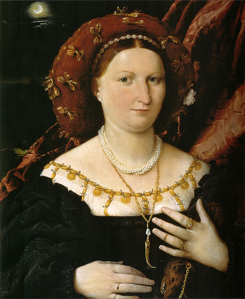 Lorenzo Lotto: Portrait of Lucina Brembati (1518–23), Accademia Carrara, Bergamo I have, for about a year now, been wearing a first-knuckle ring (in either rose gold or silver) on my ring finger. Also known as memory rings or tea rings, they are worn at the top of the finger, and they've been freaking out my family members, who say they look like some form of torture. (I swear, they don't hurt!) But I knew that first-knuckle rings had had a historical precedent, and I knew I had seen them before in paintings. So I was so excited when I encountered Lorenzo Lotto's Renaissance portrait of Italian noblewoman Lucina Brembati at the Metropolitan Museum of Art in New York (as part of an exhibition on Bellini, Titian and Lotto). Brembani is wearing a gold ring right below her first knuckle! Indeed, she's rather decked out in jewels and fur, including a gold toothpick dangling from her neck (which looks like it has a ruby or some other precious stone in it) and a marten-fur stole, a luxury object that, according to the Met's wall text, also helped to attract fleas.