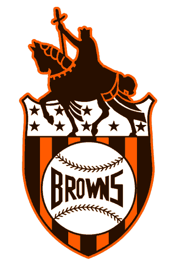 giant-squid-sports:  St. Louis Browns primary logo from 1936 to 1951. The logo features the Statue of Saint Louis on horseback.