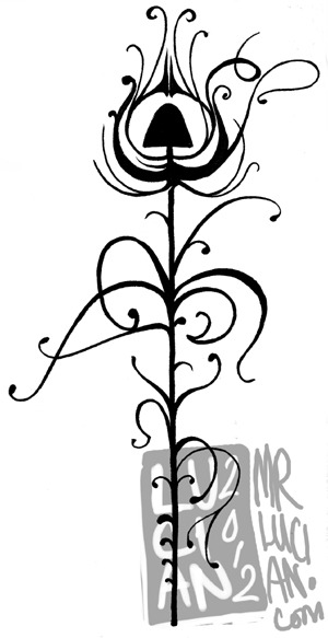 After Aubrey Beardsley. I now have this inked on my left calf. Ink. May 2012.