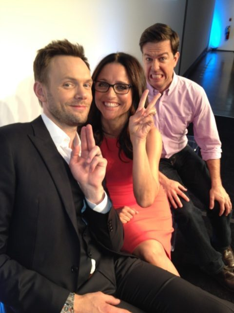 spotlightning:  Joel McHale's Photo: This is happening right now with @officialjld and @edhlems. The background is almost as white as my face.