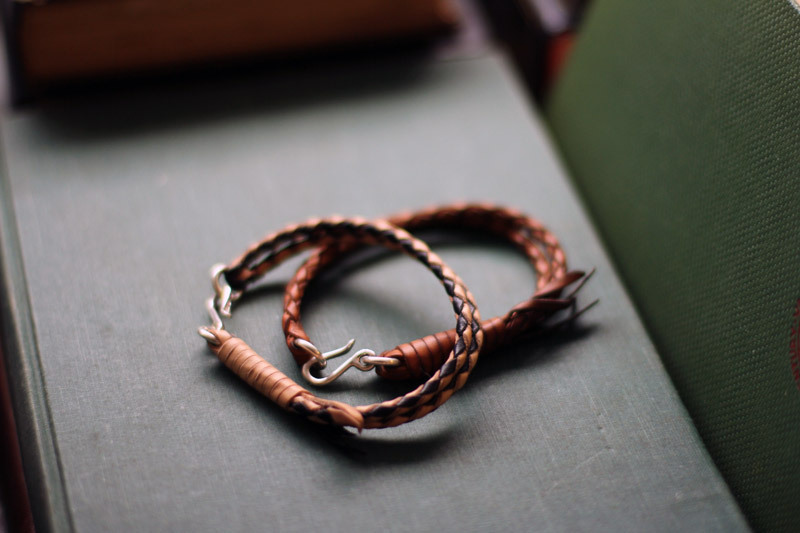 Flat Head leather bracelets (new post) - a new one with black leather woven in, and another older one in tan.