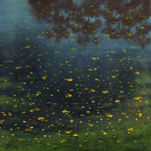 2headedsnake:  thewordmagazine.be Stephane Erouane Dumas, Autumn reflections - oil on canvas - 40 x 40 cm - 2009