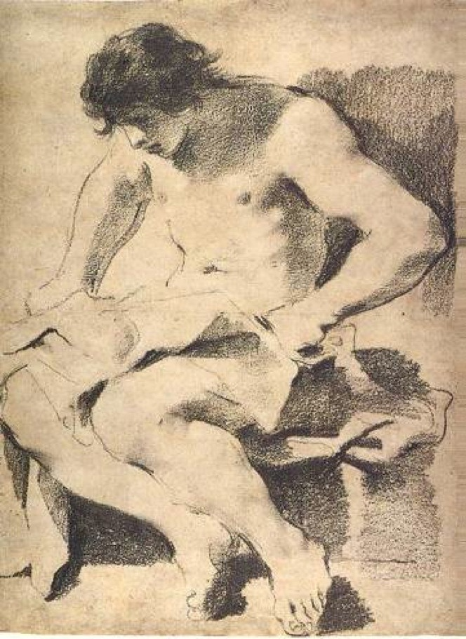 Guercino, Seated Young Man Looking Down, ca, 1619. Oiled charcoal with white chalk highlights on gray-brown paper, 57.2 x 42.7 cm. J. Paul Getty Museum, Malibu.