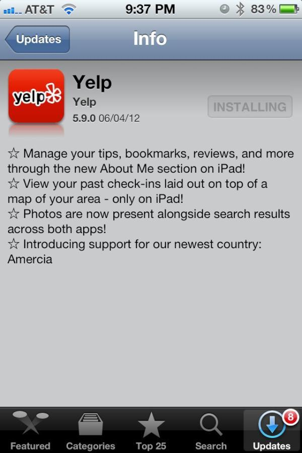shortformblog:  hypervocal:  Sweet burn! #amercia  Yelp, you clever bastards. (some context, since some of you were confused last time we brought up this topic)  We maintain that Team Romney missed a golden opportunity by not joking about the misspelling in their app's update info field.