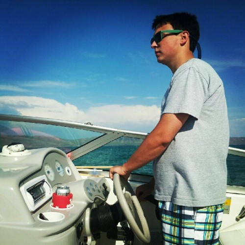 Captain Nate loved driving the boat. (Taken with instagram)
