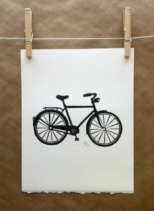 Bicycle linocut block print, available here.