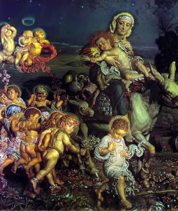 uglyrenaissancebabies:  William Holman Hunt, Triumph of the Innocents (detail) More like Triumph of the Rock-Hard Abs, amirite? And holy shit, loving Perm Christ. Maybe he was immaculately born with it — maybe it's Maybelline.  (submitted by Ellie)