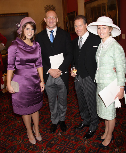 (L-R): HRH Princess Eugenie of York, Mike Tindall (son-in-law of Princess Anne), David Armstrong-Jones, Viscount Linley (son of Princess Margaret and nephew of Queen Elizabeth II), and his wife, Serena Armstrong-Jones (née Stanhope), Viscountess Linley.