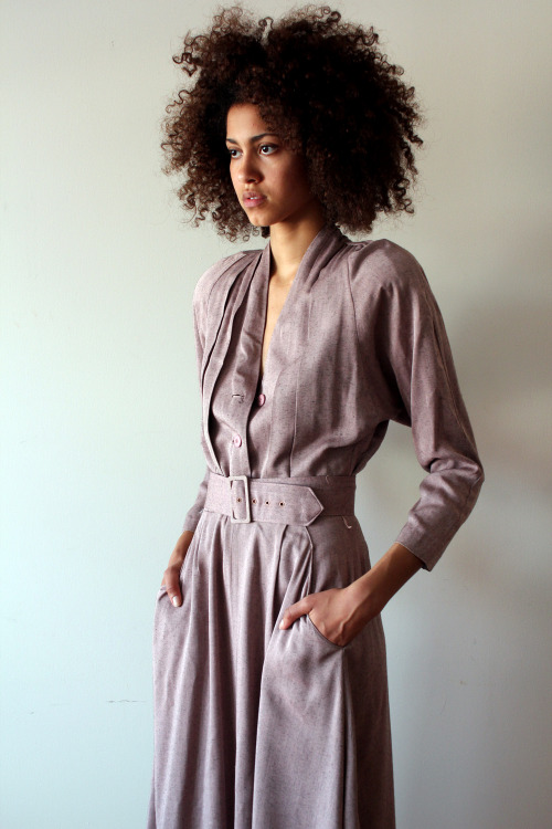 BEAUTIFULSHYT: https://www.etsy.com/listing/101430952/90s-dusky-mauve-belted-shirt-dress-maxi