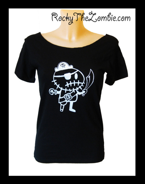 Ladies slash-neck pirate t-shirts, by Rocky the Zombie. Available on ebay HERE!