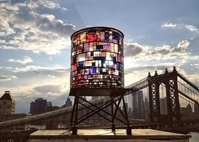 Kaleidoscopic Watertower by Tom Fruin via julienfoulatier