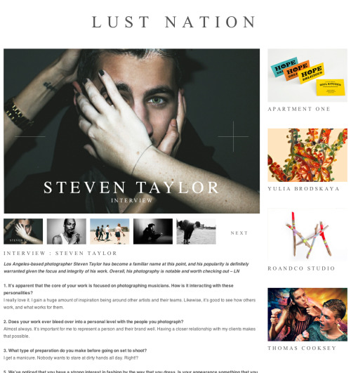 A cool new blog called Lust Nation interviewed me recently. Read More
