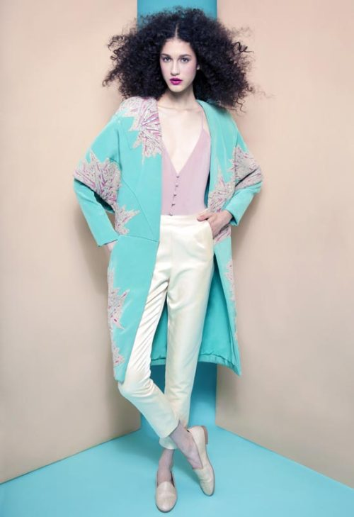 Nastasia Ohl; Manish Arora coat; Chris Benz pants; Styling Erin OKeefe; hair Andrea E Wilson; Makeup Gregg Hubbard; Photography Meagan Cignoli