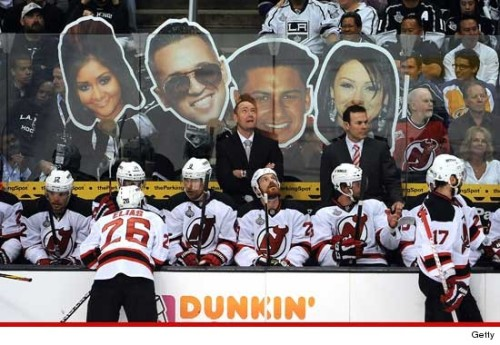 slapshot:  L.A. Kings fans Taunt N.J. Devils With 'Jersey Shore'  HA! Wow. Good one, Kings fans.