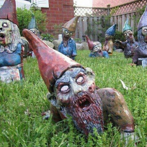 Zombie Gnomes! Love it! #zombies #walkingdead #thewalkingdead #deadrising #thriller #zombieland #geek #geeks #g4tv #primeshot #instagood #nofilters  (Taken with instagram)
