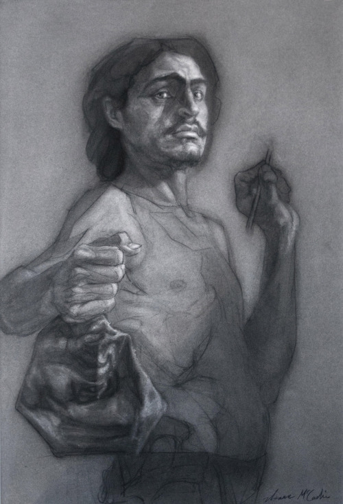 Isaac McCaslin, Reluctant Triumph, charcoal on paper, 46 x 28 in. 2011