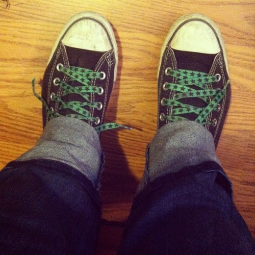 Bustin' out the Chucks today. #highschoolclassic #shoes #chucktaylors #friggensweetlaces (Taken with instagram)