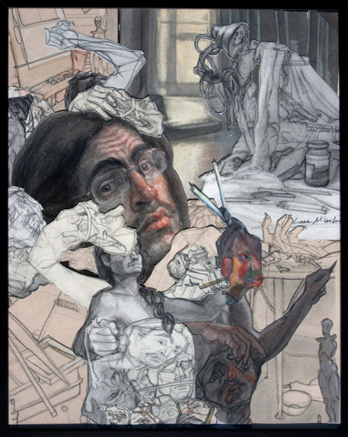 Isaac McCaslin, Masks, collaged sketchbook drawings, 20 x 16, 2011