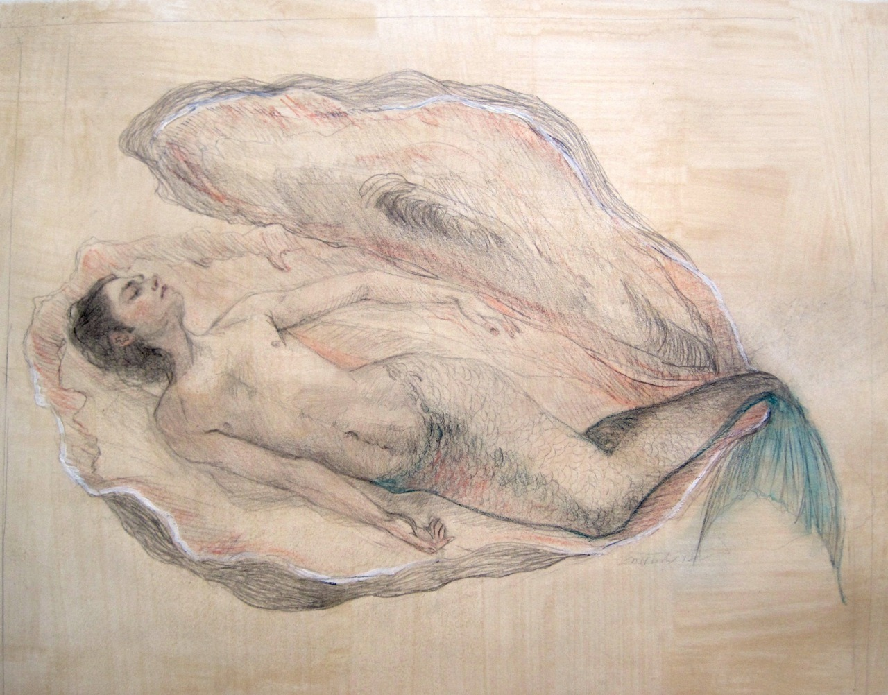 "laurenwoodsart:  Merman II, 2012, graphite and pastel on hand-toned paper, 11""x14"""