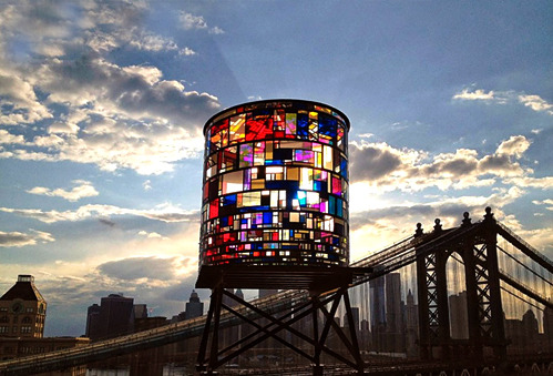 "Stain Glass Water Tower (via nevver) ""the locally-sourced plexi came from all over new york city—from the floors of chinatown sign shops, to the closed dumbo studio of artist dennis oppenheim, to astoria's demolition salvage warehouse. build it green! nyc"" - tom fruin studio Reblogged from the lovely noraleah"