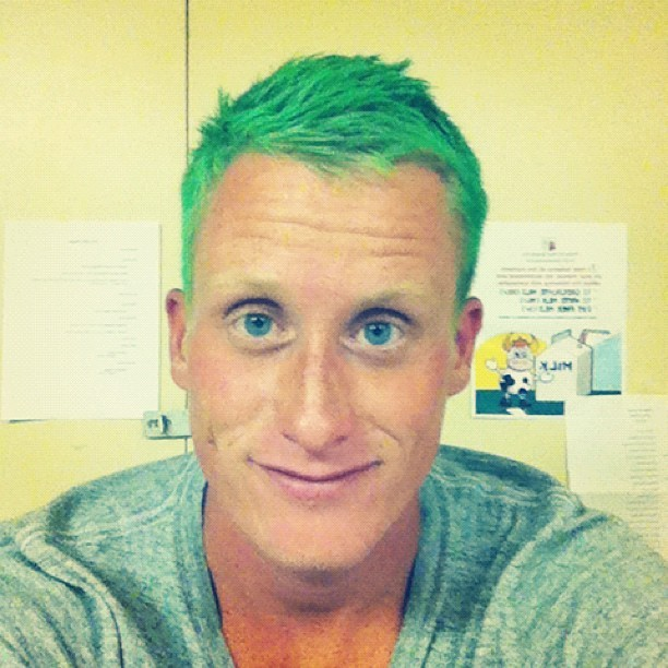 I told my students is die my hair green if they met their walk-a-thon goal (Taken with Instagram at Padua Academy)