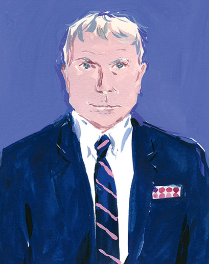 A drawing of writer, Glenn O'Brien.