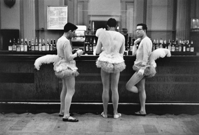 ckck:  Three men in ballerina outfits. New York City, circa 1956. Photograph by Elliott Erwitt.