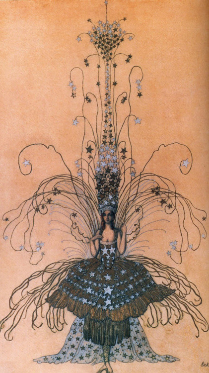 alysian-fields:  Leon Bakst drawing for Queen of the Night costume, 1922 Luisa Casati actually wore this to one of her infamous parties!