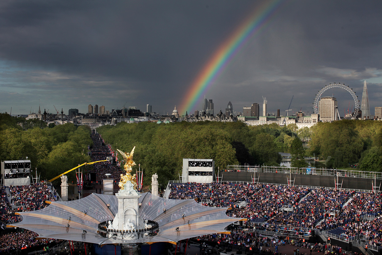 From Queen Elizabeth's Diamond Jubilee, one of 39 photos. Here, a rainbow forms over the city as a crowd gathers to attend Queen Elizabeth's Diamond Jubilee Concert in front of Buckingham Palace in London, on June 4, 2012. (Reuters/David Bebber)