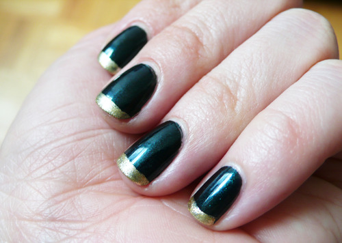 cultofpretty:  The other day I indulged in a manicure at tenoverten, and then came home and added this gold tip.  Sometimes it's nice to have someone do the base so flawlessly - if you're willing to take the risk of ruining it with your experimenting : ) RGB in Sea | Color Club Disco Nap <- currently my favorite gold  Yes I agree, it is much better to get someone else to do it for you. Also I find the finishing comes out much nicer. By the way the gold tips go very well with the black varnish. Priti.