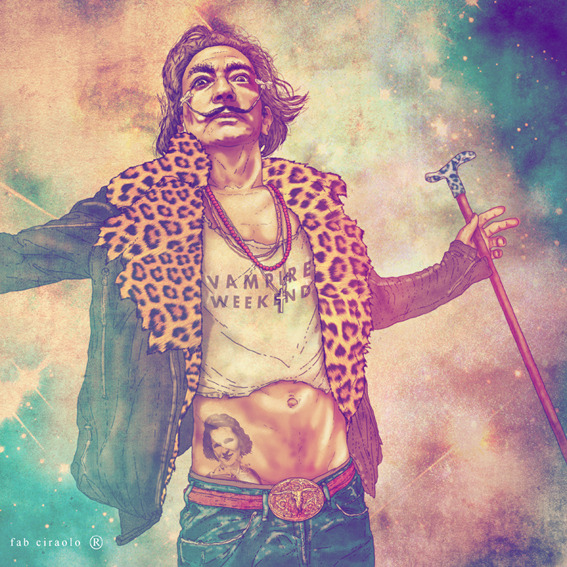 thestrutny:  Salvador Dalí as a Vampire Weekend fan? See the artwork of Fab Ciraolo Artist Fab Ciraolo has a fascination for mixing vintage with hip in his colorful illustrations. See more like Frida Kahlo as a Daft Punk fan, or The Wolfman trying to get a Morrissey haircut
