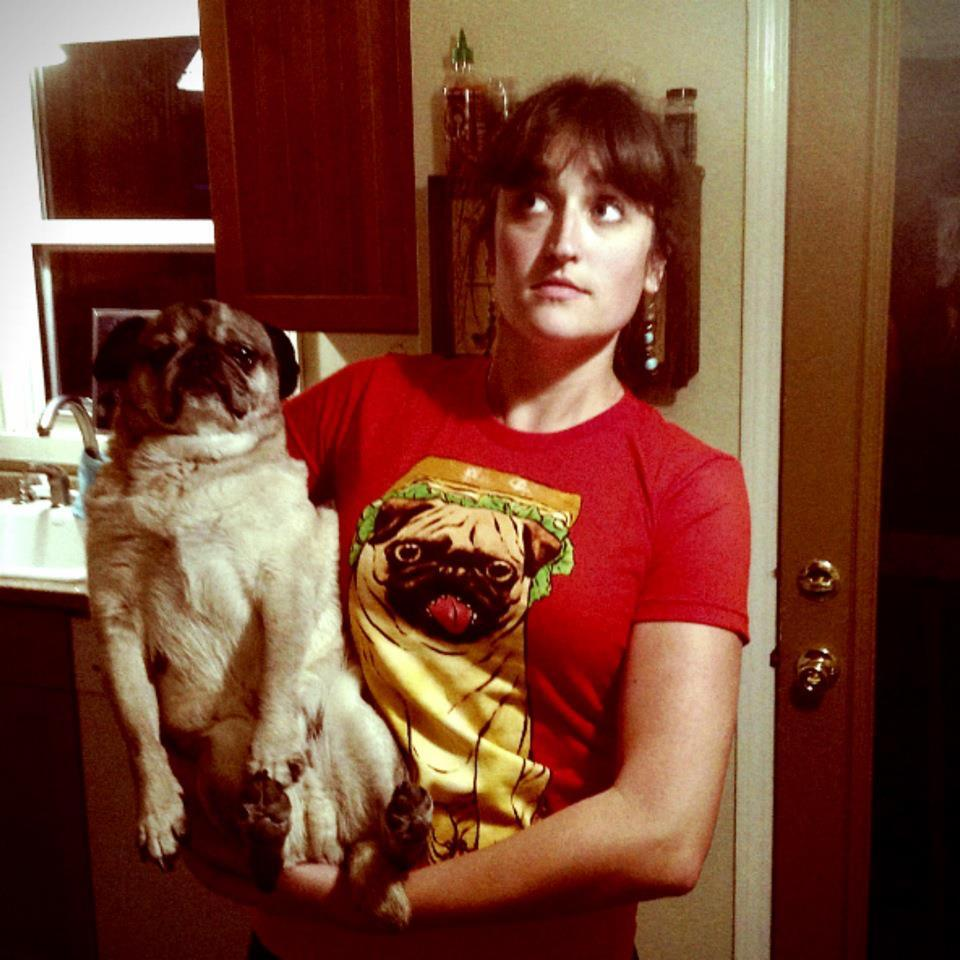 "studiojfishart:  Here's my friend Chloe with her pug Carl, the model for my shirt ""P.L.T."" with SEIBEI! He's very photogenic and a good model."