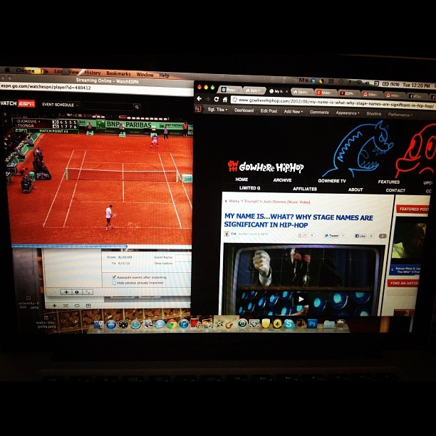 Watching Djokovic try and survive match point on one screen, working on Gowhere on the other.  (Taken with instagram)