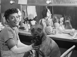 Billie Holiday & Mister (1/2) Photographer: William Paul Gottlieb Downbeat, New York, USA, June 1946.