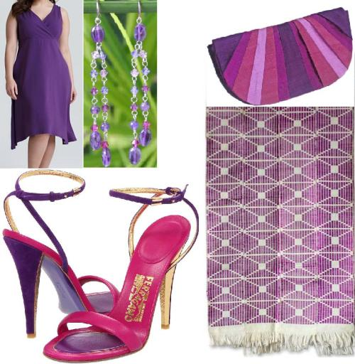 Fuschia Plus Purple. Dress, Scarf, Heels, Earrings, Handbag.