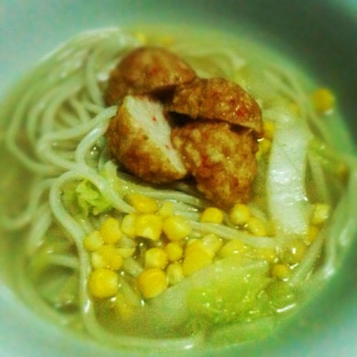 Late night crab & corn noodles 🍜 (Taken with instagram)