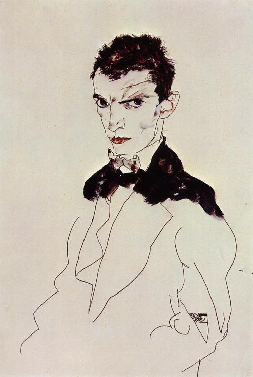 drawingdetail:  Egon Schiele, Self Portrait, 1912. Watercolour on paper. Private collection.