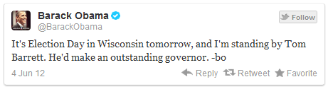 . @BarackObama endorses Tom Barrett on Twitter #WIrecall